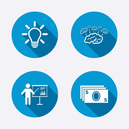 standing lamp: Presentation billboard, brainstorm icons. Cash money and lamp idea signs. Man standing with pointer. Scheme and Diagram symbol. Circle concept web buttons. Vector