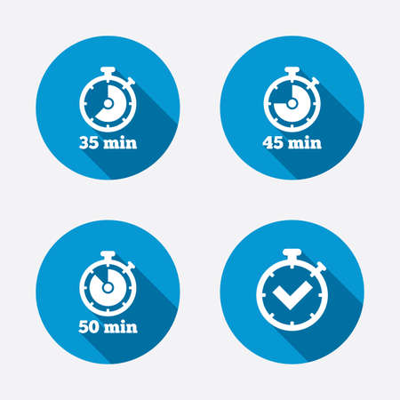 45 50: Timer icons. 35, 45 and 50 minutes stopwatch symbols. Check or Tick mark. Circle concept web buttons. Vector