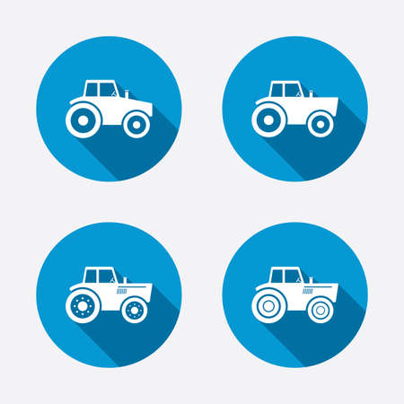 Tractor icons. Agricultural industry transport symbols. Circle concept web buttons. Vector Vector