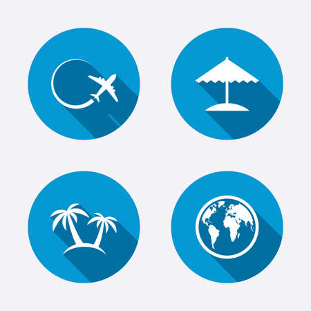 airplane world: Travel trip icon. Airplane, world globe symbols. Palm tree and Beach umbrella signs. Circle concept web buttons. Vector