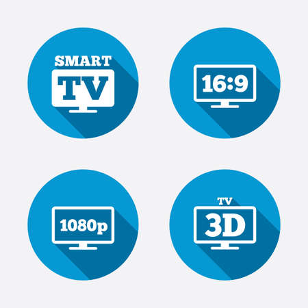 3d mode: Smart TV mode icon. Aspect ratio 16:9 widescreen symbol. Full hd 1080p resolution. 3D Television sign. Circle concept web buttons. Vector