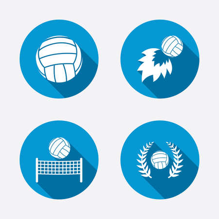 Volleyball and net icons. Winner award laurel wreath symbols. Fireball and beach sport symbol. Circle concept web buttons. Vector