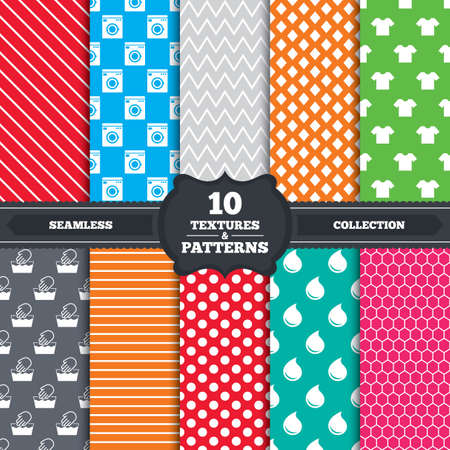 washhouse: Seamless patterns and textures. Wash machine icon. Hand wash. T-shirt clothes symbol. Laundry washhouse and water drop signs. Not machine washable. Endless backgrounds with circles, lines and geometric elements. Vector