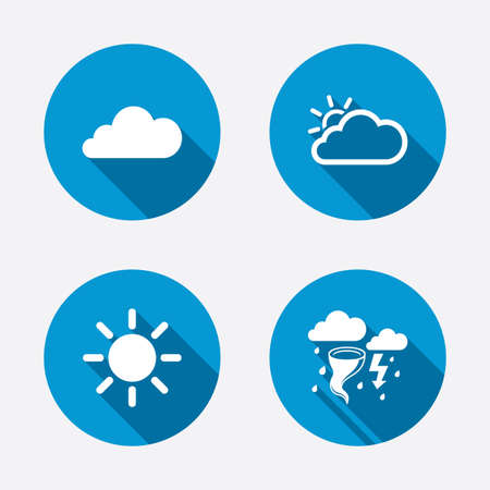 gale: Weather icons. Cloud and sun signs. Storm or thunderstorm with lightning symbol. Gale hurricane. Circle concept web buttons. Vector Illustration
