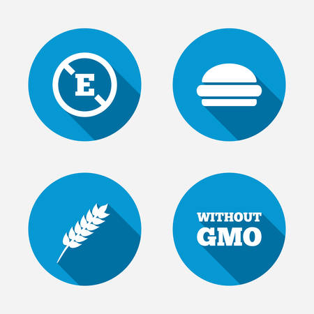 stabilizers: Icono de aditivo alimentario. Hamburguesa signo de comida r�pida. Gluten s�mbolos libres y Sin OGM. Sin estabilizadores de �cido E. Botones concepto de web de c�rculo. Vector