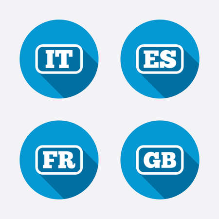 gb: Language icons. IT, ES, FR and GB translation symbols. Italy, Spain, France and England languages. Circle concept web buttons. Vector Illustration