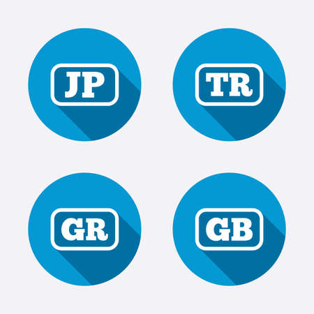 gr: Language icons. JP, TR, GR and GB translation symbols. Japan, Turkey, Greece and England languages. Circle concept web buttons. Vector Illustration