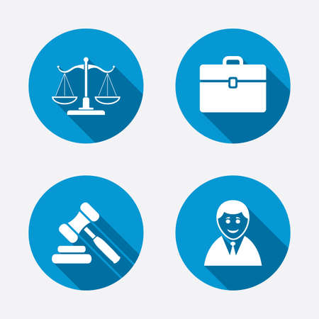 Scales of Justice icon. Client or Lawyer symbol. Auction hammer sign. Law judge gavel. Court of law. Circle concept web buttons. Vector