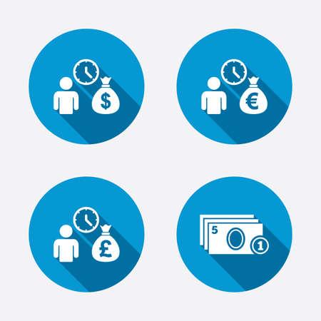 fast money: Bank loans icons. Cash money bag symbols. Borrow money sign. Get Dollar money fast. Circle concept web buttons. Vector Illustration