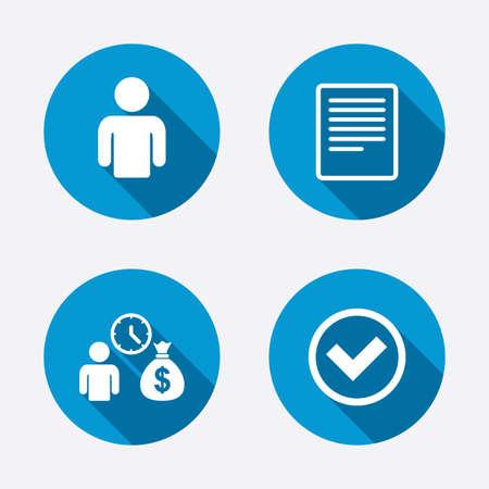 efectivo: Banco préstamos iconos. Efectivo símbolo bolsa de dinero. Solicitar la señal de crédito. Compruebe o Marca de la señal. Botones concepto de web de círculo. Vector