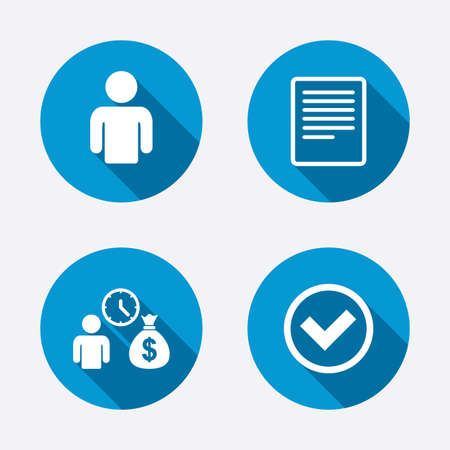 cash: Bank loans icons. Cash money bag symbol. Apply for credit sign. Check or Tick mark. Circle concept web buttons. Vector
