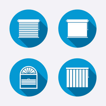 window blinds: Louvers icons. Plisse, rolls, vertical and horizontal. Window blinds or jalousie symbols. Circle concept web buttons. Vector