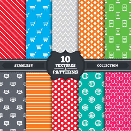 Seamless patterns and textures. Online shopping icons. Smartphone, shopping cart, buy now arrow and internet signs. WWW globe symbol. Endless backgrounds with circles, lines and geometric elements. Vector Vector