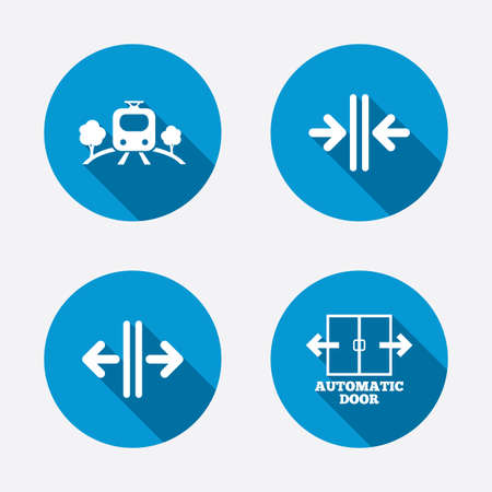 automatic doors: Train railway icon. Overground transport. Automatic door symbol. Way out arrow sign. Circle concept web buttons. Vector