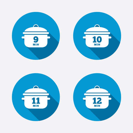 10 12: Cooking pan icons. Boil 9, 10, 11 and 12 minutes signs. Stew food symbol. Circle concept web buttons. Vector