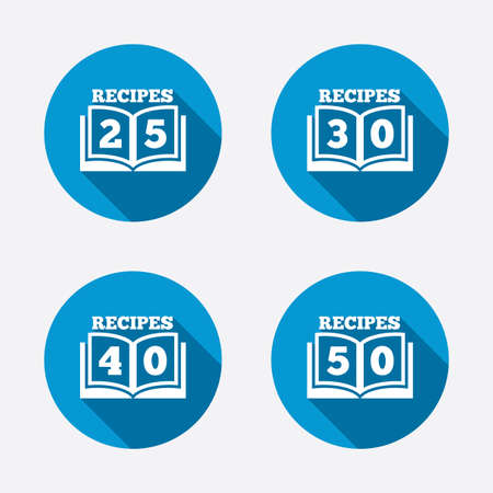 25 30: Cookbook icons. 25, 30, 40 and 50 recipes book sign symbols. Circle concept web buttons. Vector