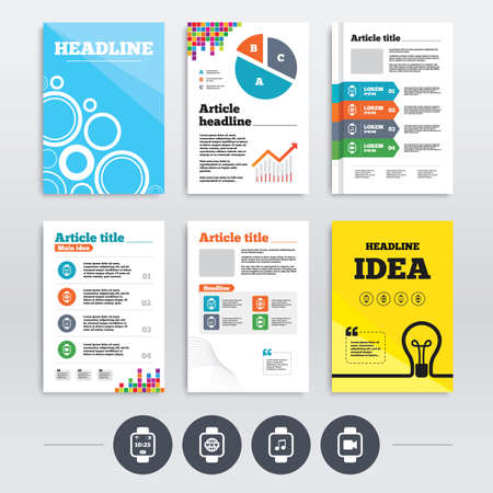 Brochure design and A4 flyers. Smart watch icons. Wrist digital time watch symbols. Music, Video, Globe internet and signs. Infographics templates set. Vector Vector