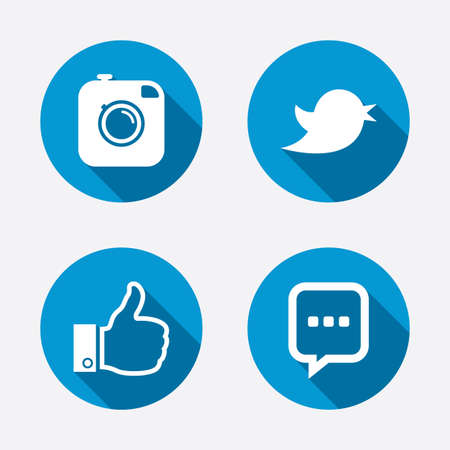 chat up: Hipster photo camera icon. Like and Chat speech bubble sign. Hand thumb up. Bird symbol. Circle concept web buttons. Vector