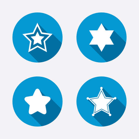 Star of David icons. Sheriff police sign. Symbol of Israel. Circle concept web buttons. Vector Vector