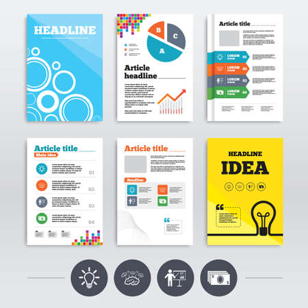 standing lamp: Brochure design and A4 flyers. Presentation billboard, brainstorm icons. Cash money and lamp idea signs. Man standing with pointer. Scheme and Diagram symbol. Infographics templates set. Vector