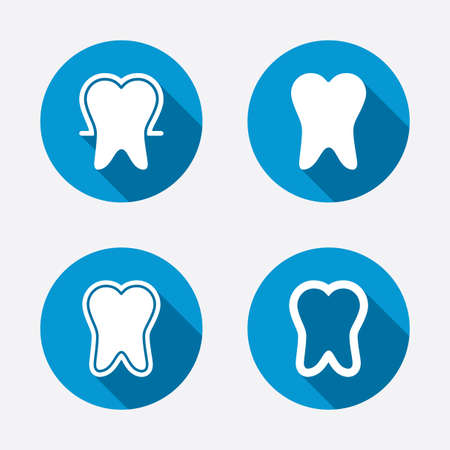 stomatologist: Tooth enamel protection icons. Dental toothpaste care signs. Healthy teeth sign. Circle concept web buttons. Vector