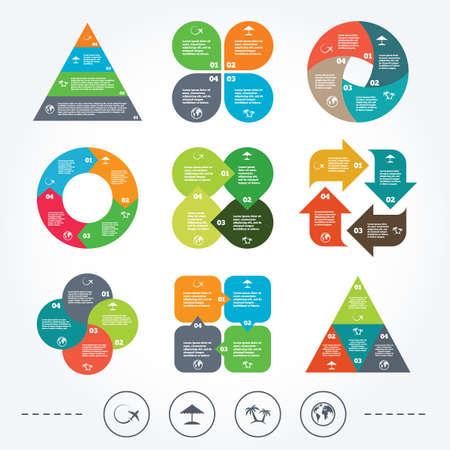tree diagram: Circle e diagramma triangolo grafici. Viaggi viaggio icona. Aeroplano, simboli globo terrestre. Palma e spiaggia segni ombrello. Sfondo con 4 opzioni gradini. Vettore
