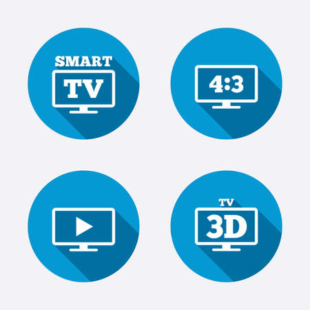 3d mode: Smart TV mode icon. Aspect ratio 4:3 widescreen symbol. 3D Television sign. Circle concept web buttons. Vector Illustration