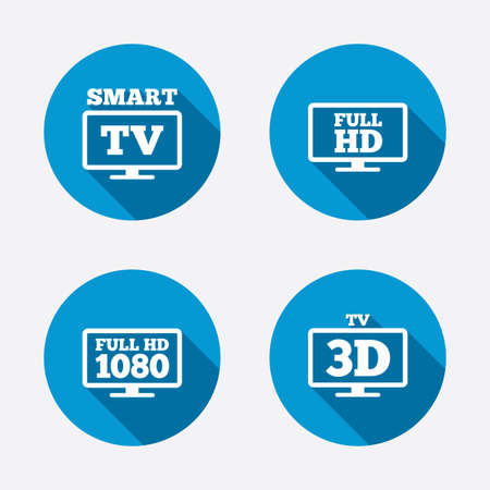 3d mode: Smart TV mode icon. Widescreen symbol. Full hd 1080p resolution. 3D Television sign. Circle concept web buttons. Vector