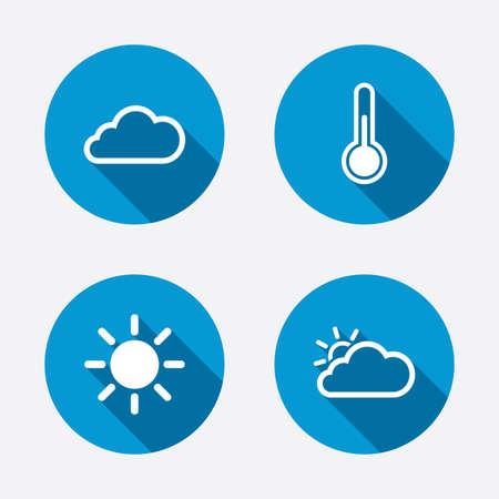 termometro: Iconos del tiempo. Nube y sol signos. Símbolo de temperatura del termómetro. Botones concepto de web de círculo. Vector