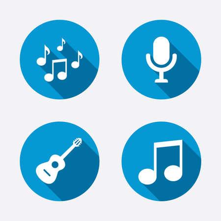 instruments de musique: Ic�nes de la musique. Microphone symbole de karaok�. notes de musique et les signes de la guitare acoustique. Cercle boutons notion web. Vecteur