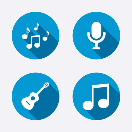 musical event: Music icons. Microphone karaoke symbol. Music notes and acoustic guitar signs. Circle concept web buttons. Vector Illustration