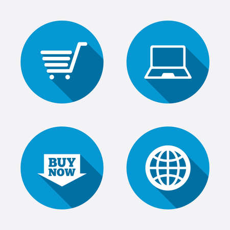 ultrabook: Online shopping icons. Notebook pc, shopping cart, buy now arrow and internet signs. WWW globe symbol. Circle concept web buttons. Vector Illustration