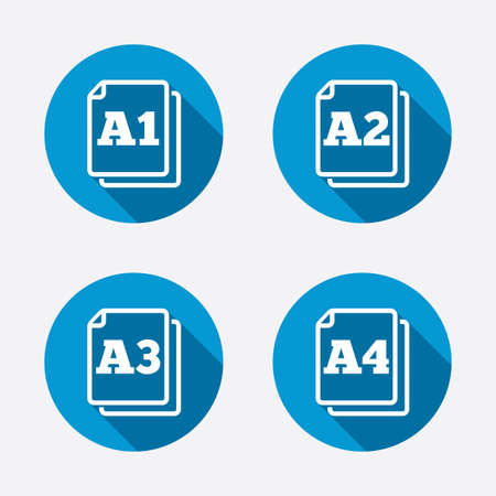 a1: Paper size standard icons. Document symbols. A1, A2, A3 and A4 page signs. Circle concept web buttons. Vector