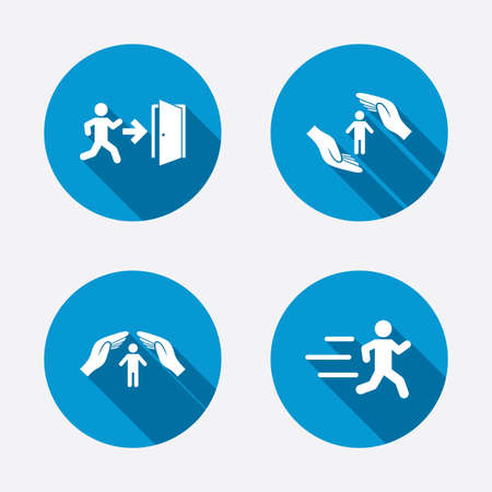 emergency exit label: Life insurance hands protection icon. Human running symbol. Emergency exit with arrow sign. Circle concept web buttons. Vector Illustration