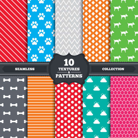 pets: Seamless patterns and textures. Pets icons. Dog paw and feces signs. Clean up after pets. Pets food. Endless backgrounds with circles, lines and geometric elements. Vector Illustration