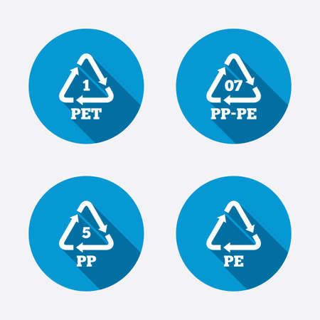 pp: PET 1, PP-pe 07, PP 5 and PE icons. High-density Polyethylene terephthalate sign. Recycling symbol. Circle concept web buttons. Vector Illustration