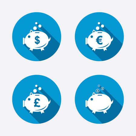 pound coin: Piggy bank icons. Dollar, Euro and Pound moneybox signs. Cash coin money symbols. Circle concept web buttons. Vector