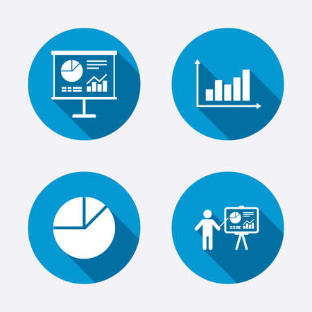 demand: Diagram graph Pie chart icon. Presentation billboard symbol. Supply and demand. Man standing with pointer. Circle concept web buttons. Vector Illustration