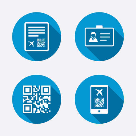 boarding card: QR scan code in smartphone icon. Boarding pass flight sign. Identity ID card badge symbol. Circle concept web buttons. Vector