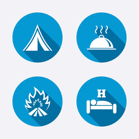 breakfast in bed: Hot food, sleep, camping tent and fire icons. Hotel or bed and breakfast. Road signs. Circle concept web buttons. Vector