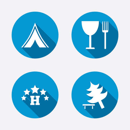 break down: Food, hotel, camping tent and tree icons. Wineglass and fork. Break down tree. Road signs. Circle concept web buttons. Vector