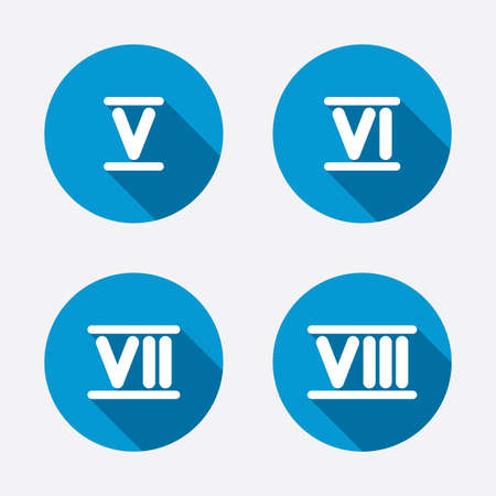 ancient rome: Roman numeral icons. 5, 6, 7 and 8 digit characters. Ancient Rome numeric system. Circle concept web buttons. Vector Illustration