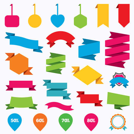 50 to 60: Web stickers, tags and banners. Sale pointer tag icons. Discount special offer symbols. 50%, 60%, 70% and 80% percent discount signs. Template modern labels. Vector