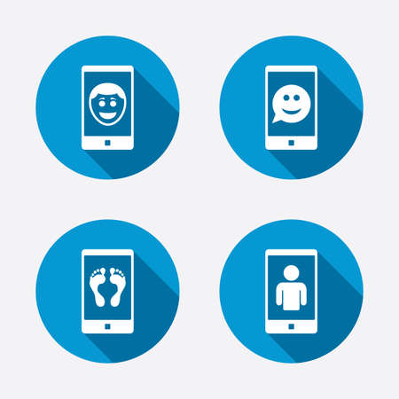 man smile: Selfie smile face icon. Smartphone video call symbol. Self feet or legs photo. Circle concept web buttons. Vector