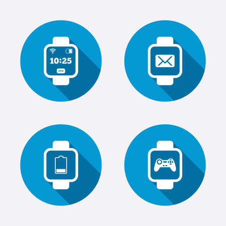 game time: Smart watch icons. Wrist digital time watch symbols. Mail, Game joystick and signs. Circle concept web buttons. Vector Illustration