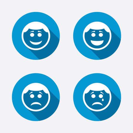ojos llorando: Círculo sonreír iconos de la cara. Feliz, triste, llorar signos. Feliz símbolo de chat sonriente. La tristeza y la depresión signos de llanto. Botones concepto de web de círculo. Vector