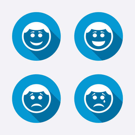 Circle smile face icons. Happy, sad, cry signs. Happy smiley chat symbol. Sadness depression and crying signs. Circle concept web buttons. Vector