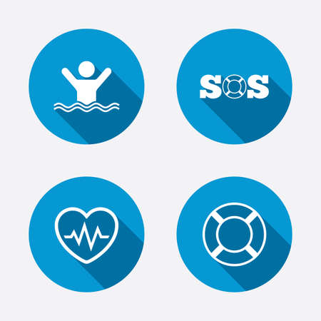 SOS lifebuoy icon. Heartbeat cardiogram symbol. Swimming sign. Man drowns. Circle concept web buttons. Vector
