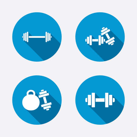 workout: Dumbbells sign icons. Fitness sport symbols. Gym workout equipment. Circle concept web buttons. Vector Illustration