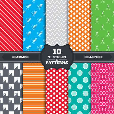 snip: Seamless patterns and textures. Textile cloth piece icon. Scissors hairdresser symbol. Needle with thread. Tailor symbol. Canvas for embroidery. Endless backgrounds with circles, lines and geometric elements. Vector